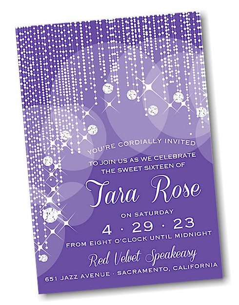 Diamond Curtain Sweet 16 Invitation