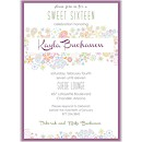 Retro Floral Sweet 16 Invitation