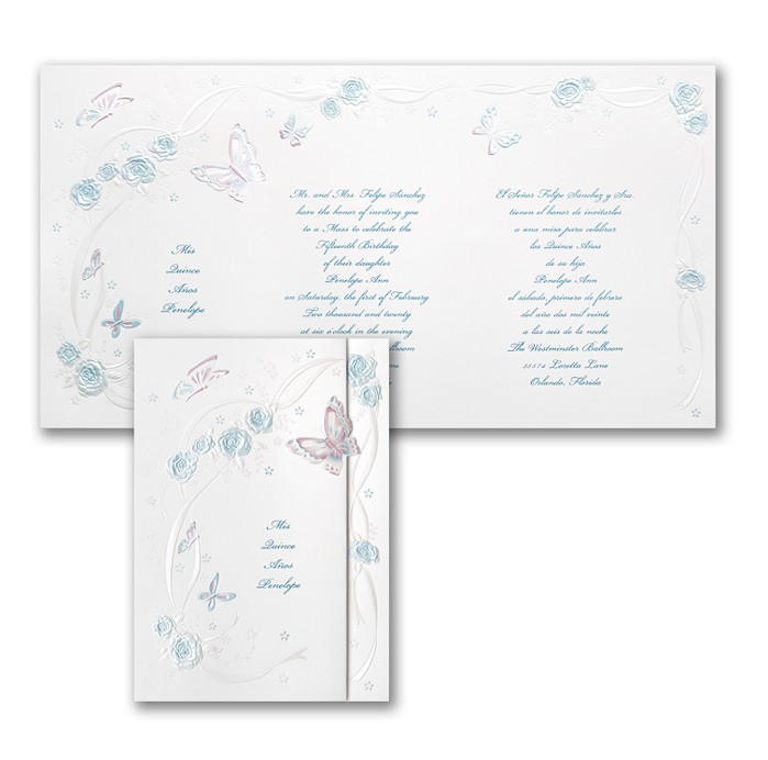 Butterflies and Ribbons in Aqua Quinceanera Invitation