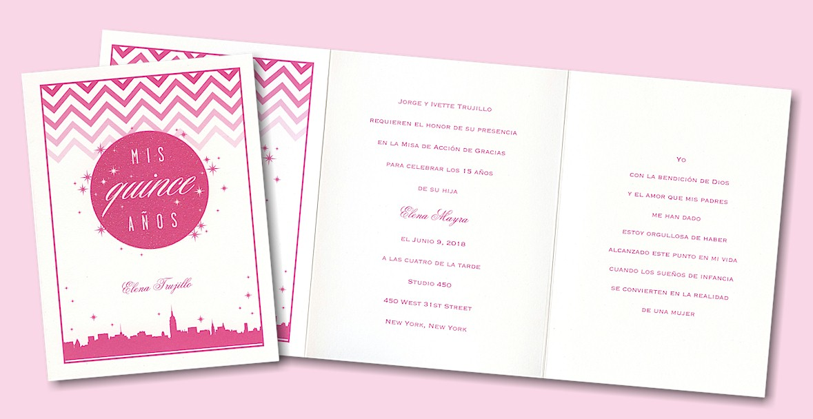 City Chic Quince - New York Quinceanera Invitation