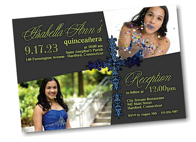 Precious Cross Quinceañera Invitation