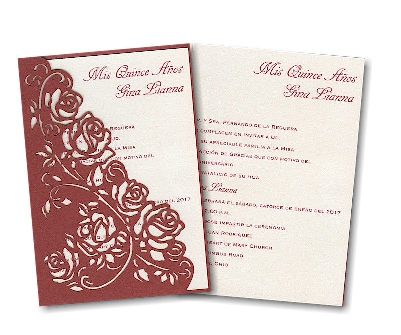 Regal Roses Quince Aos Invitation