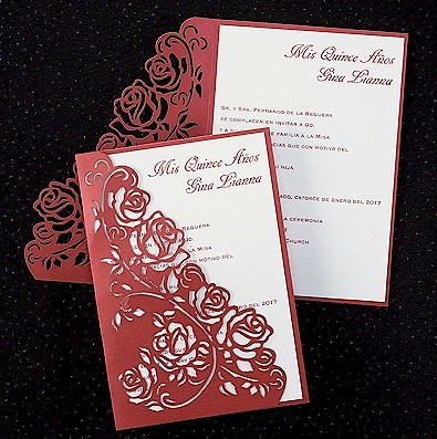 Regal Roses Quince Años Invitation